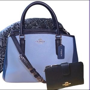 COACH CARRYALL GEOMETRIC COLORBLOCK & WALLET NWT